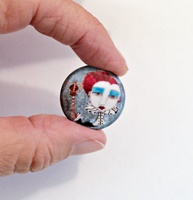 Red Queen 1 inch Cabochon with magnet