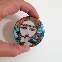 2 inch round Mermaid and Seahorse Cab