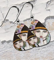 Sisters Witch Guitar Pick Earrings