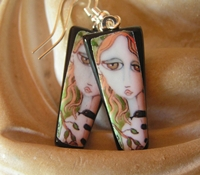 Snake Charmer Fused Glass Image Earrings