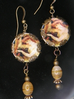 Victorian Lady Dangle Earrings Cream