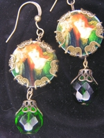 Victorian Lady in Green Earrings