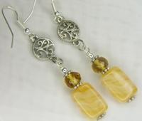 Yellow Agate Stone Dangle Earring