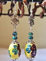Yellow and Turquoise Dangle Earrings