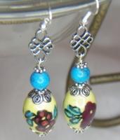 Turquoise Flower Glass Bead Dangle Earring